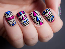 Tribal Print Nail Designs Fabulous Aztec Tribal Pattern With Blue And Pink And Black