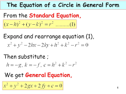 6 from the standard equation expand and rearrange equation 1 then substitute we get general equation the equation of a circle in general form 6