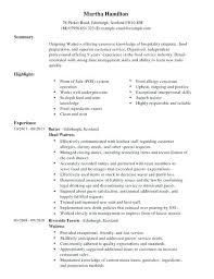 Waitress Objective For Resume Objective For Restaurant Server Waiter Custom Waiter Resume