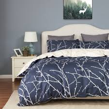 duvet cover set with zipper closure branch and plum blue printed pattern full