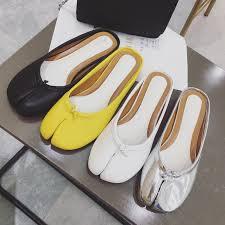 summer flat cloven toe mules <b>women</b> new soft <b>leather split toe</b> ...
