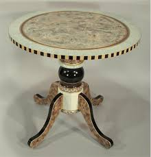 hand painted furnitureRound Pedestal End Table AquaIvory from Suzanne Fitch Handpainted