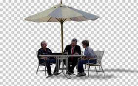 table chair umbrella furniture outdoor dining table three men under beige and gray patio