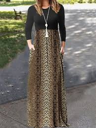 Brown Patchwork Leopard Pattern Pockets Plus Size Countryside Village Casual Maxi Dress