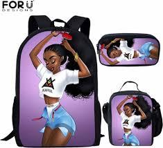 <b>FORUDESIGNS</b> 3pcs/set School Bags <b>Backpack</b> African <b>Black</b> Girl ...