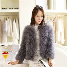women 2016 short slim winter thick o neck sleeve single ted solid ostrich feather faux fur