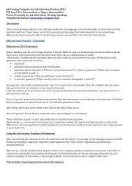 job interview template job posting template for job interview practice
