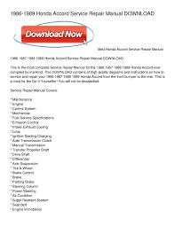calaméo 1986 1989 honda accord service repair manual