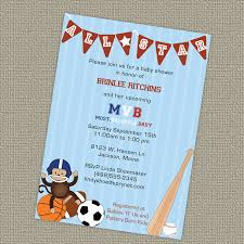 Sports Themed Baby Shower Invitation All Star Invite MVBBaby Shower Invitations Sports Theme