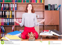 how to meditate in office. beautiful girl meditate in office stock photo how to i