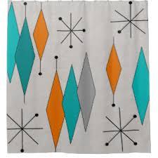 Modern shower curtains Navy Midcentury Modern Diamonds Teal Shower Curtain Rantings Of Shopaholic Mid Century Modern Shower Curtains Zazzle
