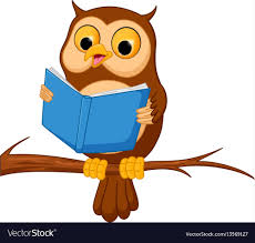 owl cartoon reading a book vector image