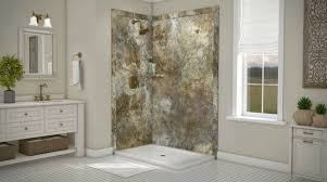 decorative diy faux stone shower wall panels in a 48 x 36 corner shower stall