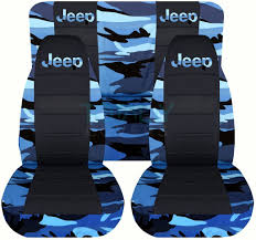 jeep wrangler blue camo and black seat covers with jeep logo