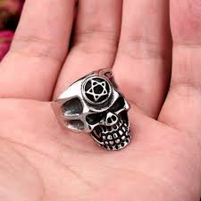 Punk <b>Style</b> Pentagram Skull Ring,Personalized <b>Titanium Steel</b> Ring ...