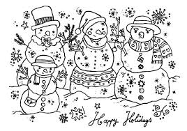 Small Picture Happy Holidays Three Snow Man Coloring Pages Coloring Sky