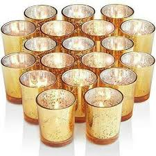 mercury glass votive candle holder 72 count speckled gold tealight holders