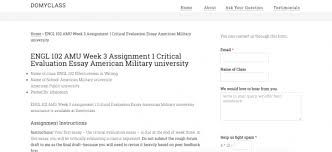 Engl 102 Amu Week 3 Assignment 1 Critical Evaluation Essay