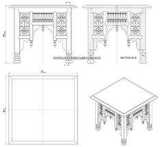 coffee table drawing. Egyptian Mashrabiya Coffee Table - Assembly Drawing V