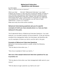 Examples Of Behavioral Interview Questions Interview Questions