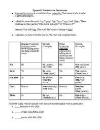 Spanish Possessive Pronouns Worksheets Teaching Resources