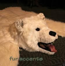 polar bear skin rug faux fur taxidermy alternative white 6 for
