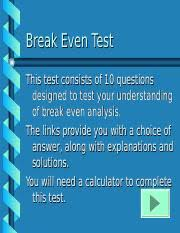 Break Even Test Ppt Break Even Test This Test Consists Of
