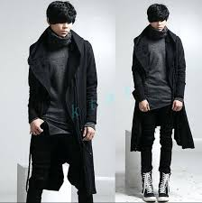 hooded trench coat men men retro personality fashion long loose outwear punk hooded trench coat jacket