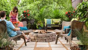 patio with fire pit. Stone And Gravel Patio With Fire Pit. Pit