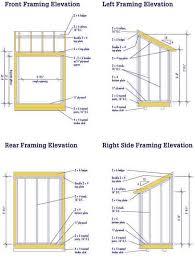 lean to shed blueprints elevation
