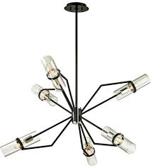 troy lighting f6326 raef 6 light 36 inch textured black with polished nickel chandelier ceiling light