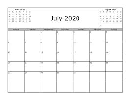 June July 2020 Calendar July 2020 Calendar Excel Printable Calendar Template