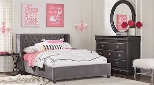pink upholstered bed. Oberon Black 4 Pc Full Bedroom With Charcoal Upholstered Bed - Teen Sets Pink
