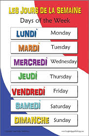French Days Of The Week French Language School Poster Days Of The Week Bilingual Chart 11x17 Inches
