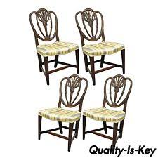set 4 antique hepplewhite shield back d carved gany dining room chairs