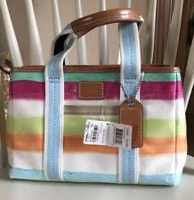Coach Hampton Watercolor Stripe Handbag Purse Rare  168 Macy s NWT FAST  SHIP!
