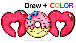 Small Picture How to Draw Color MOM bubble letters with Donut step by step