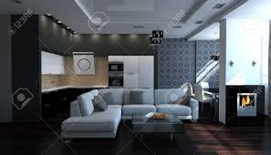 Modern Black And White Living Room Modern Black And White Stylish Interior Livingroom Stock Photo
