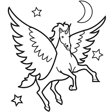 Small Picture Unicorn coloring pages with moon and stars ColoringStar