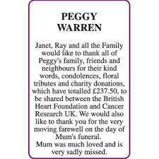 PEGGY WARREN - Acknowledgement - Lowestoft Journal Announcements - Family  Notices 24