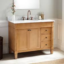 Real wood bathroom vanities Floating Vanity 42 Signature Hardware Solid Wood Vanity Signature Hardware