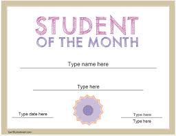 Student Of The Month Certificate Templates Education Certificates Student Of The Month Certificate