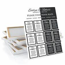 Wedding Seat Chart Poster Black White Wedding Table Seating Plan Chart Poster Print Canvas