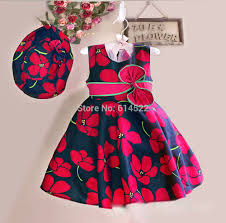 New Fashion Baby Dress Designs Us 9 89 45 Off New Summer Baby Girls Floral Dress With Cap European Style Designer Bow Children Dresses Kids Clothes 3 8y In Dresses From Mother