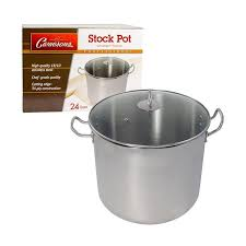 cameron s 24 quart tri ply stainless steel stock soup pot with clear tempered glass lid
