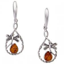 amber dragonfly loop earrings