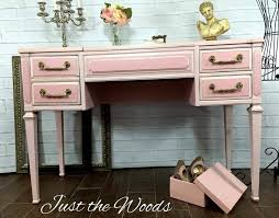 painted vintage vanity by just the woods pink and gold vanity makeover gold