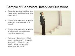 Examples Of Behavioral Interview Questions Behavioral Interview Questions For Critical Thinking