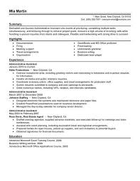 Business Assistant Sample Resume