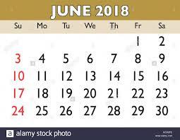 2018 Calendar June Month Vector Printable Calendar Monthly Stock